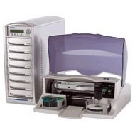 Primera`s DUP-07 CD/DVD copytower with 7 Plextor drives, 1 reading device, 80 GB hard drive.